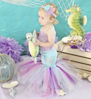 Wholesale Cute Toddler Dance Costumes - Free ship Infant Toddler Baby Girls Tulle Mermaid Fishtail Tutu Dress Cute Princess Costume Kids Pageant Birthday Photograph Party Dresses