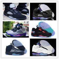 Wholesale Pink Sliver - High Quality Air Retro 5 Metallic Sliver Basketball Shoes Blue University Red Raging Bull 3M Reflect Suede Fire Red Outdoor Sports Sneakers