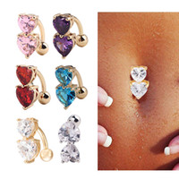 Wholesale Reverse Navel Belly Ring - 6 Colors Reverse Crystal Bar Belly Ring Gold Body Piercing Button Navel Two Heart body pierce jewelry