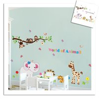 Wholesale Large Monkey Tree Wall Stickers - 100pcs LA6036 animals wall stickers for kids room decorations ZY9052. zoo adesivo de paredes tree home decals mural tiger giraffe monkey