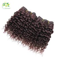 ingrosso tessuti di sconto tessuto-Buona qualità Bundles capelli brasiliani 99j Weave crespi ricci acconciature per tessuto brasiliano ricci rosso tessuto sconto capelli umani estensioni