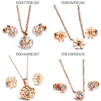 Wholesale Mix Order Stainless Steel Earrings - Mixed order Stainless Steel rose gold Pendant necklace with earrings women jewelry