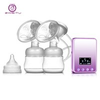 Wholesale Electric Breast Pumping - ZIMEITU Double Electric breast pumps Powerful Nipple Suction USB Electric Breast Pump with baby milk bottle Cold Heat Pad NB