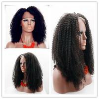 Wholesale Trade Brazilian Hair - Cheap Trade 6A Long Kinky Curly Full Lace Wig Virgin Mongolian Lace Front Wig Kinky Curly Human Hair Wigs For Black Women