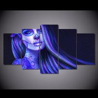 More Panel cartoon tattoos pictures - 5 Set HD Printed Day of Dead Piano Brunette Tattoos Painting Canvas Print room decor print poster picture canvas oil paint pictures