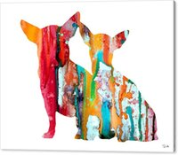Wholesale art panels for sale online - 2016 sale youme art watercolor giclee oil painting arts and canvas wall decoration x102 for chihuahua luke no wrap rolled in a tube