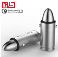 Wholesale Mini Car Charger Usb Box - 18 W5 V2.4A Bullet Quick Charge 3.0 Mini Snelle USB Auto-oplader for iphone7 plus Samsung HTC With the Retail Box