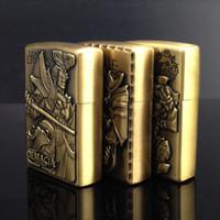 Wholesale Bronze Metal Oil Lighter - Wholesale- Metal Kerosene Lighter Hero Alliance Bronze Figure Relief Creative Cafe More Optional