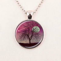 Wholesale Nature Crystal Sale - hot sale Tree Necklace Tree of Life Sunset Nature Art Green Nature Pendant The Kiss by Gustav Klimt