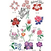 Wholesale Flower Tattoo Books - 100 Flower Designs Self-Adhesive Body Art Temporary Tattoo Airbrush Stencils Template Books of Butterfly and Animals Booklet 10