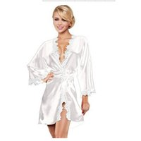 Wholesale Brand New Womens Sexy Satin Lingerie Robe Dress Bathrobe with Thongs Set AS02068