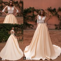 Wholesale two piece satin wedding dress vintage for sale - 2018 Champagne Two Pieces Deep V neck Wedding Dresses Half Sleeves See Through Back Lace Appliques Beaded Wedding Gowns with Buttons