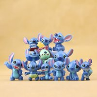 Wholesale Lilo Stitch Pvc Figures - 12pcs lot Lilo & Stitch Mini Figures PVC Action Figure Stitch Figure Miniatures Toys Collectible Model Toy for Chidlren Gifts