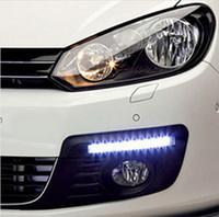 Wholesale daytime running lights led kit - 2Pcs Universal Car Daytime Running Lights 8 LED DRL Daylight Kit Super White 12V DC Head Lamp