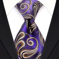 Wholesale Jacquard Purple Paisley Necktie - Elegant F18 Purple Brown White Paisley Men's Ties Neckties 100% Silk Jacquard Woven Wholesale Free Shipping