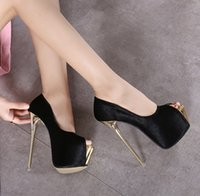 Wholesale Shoes Platform Sexy High - 16cm Ultra high heel peep toe platform pumps sexy women nightclub prom gown wedding shoes size 34 to 40