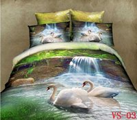 Wholesale 3d bedding set swan cotton resale online - Swan D Bedding Sets Polyester Cotton Animal Printed Six Pieces Bedding Supplies Three Kind Sizes Can Choose New Arrival