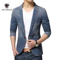 coreano moda masculina jaqueta venda por atacado-Atacado - Denim blazer homens slim fit jean paletó 2016 nova primavera coreano moda causal mens blazer jaquetas tendência marca ternos demin