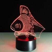 Wholesale Golden Mushroom - 2016 Golden Fish 3D Optical Illusion Lamp Night Light DC 5V USB Charging AA Battery Wholesale Dropshipping Free Shipping Retail Box