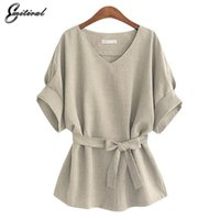 2017 Estate 5XL Plus Size Donne Camicie Maglia Lana Tunica Camicia V collo Big Bow Batwing Lega Sciarpa Ladies Camicetta Top Donna per Top