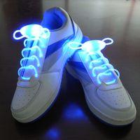 Wholesale Neon Stick Luminous - DHL Free 100 Pairs( 200pcs) Led Light Luminous Shoelace Glowing Shoe Laces Glow Stick Flashing Colored Neon Shoelace Chaussures LED