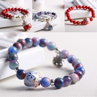 Wholesale Cute Clay Charms - Lucky Cat Porcelain Beads Pearl Crystal Beads Stretch Bracelet Colorful Stone Beads Cute Lovely Fashion Jewelry Birthday Gift Free DHL D187S