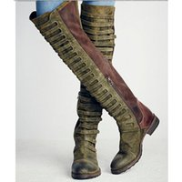 Wholesale Vintage Thigh High Suede Boots - Vintage Knee Boots Thigh-High Boots 2017 Fashion Black Knight Boot Autumn And Winter Plus Size Flat Boots