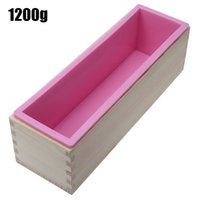 Wholesale Soaps Mold - 900g and 1200g PINK High Quality Wooden Soap Loaf Mold Rectangle Wooden Box With Silicone Liner DIY Making Loaf Swirl Soap Tools