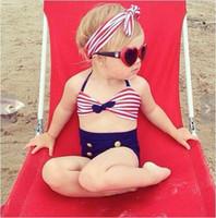 Wholesale Baby Beach Trunk - Fashion children's swimsuit girls stripe bikini high waist Swimming trunk headband 3pcs sets for baby girl kids spa beach swimwear 7331