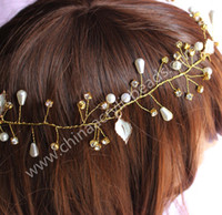 Wholesale Crystal Ribbon Hair Band Wholesale - 6*10MM artificial pearl bead bridesmaids Crown vine Floral Crown hair Garland Halo with Floral Wrist Band