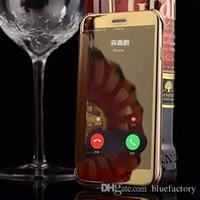 ingrosso iphone 5s vista copertura flip-Per iphone XS XR 8 lusso Clear View Mirror Screen Flip Custodia in pelle trasparente custodia in plastica per iPhone 7 6s 5s
