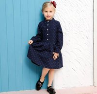 Wholesale Navy Dress Polka Dots Girls - 2016 Autumn New England Style Girl Dresses Little Polka Dot Navy Long Sleeve Princess Dress Children Clothing 3-10T 1004