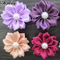 """Wholesale Satin Multilayers Flower - Toplay 100pcs  Lot 1 .5 """"Multilayers Satin Ribbon Flowers Solid Headbands With Pearl Christmas Hair Flower Little Girls Hair Accessories"""