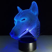 Wholesale Dropshipping Wedding - 2017 Dog Head 3D Optical Illusion Lamp Night Light DC 5V USB Charging AA Battery Wholesale Dropshipping Free Shipping
