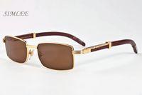 4eb49a6c85775 Designer lunettes de soleil pour hommes lunettes de corne de buffle cru  rétro bambou bois lunettes de soleil pas cher lunettes sans monture cadre  verres de ...