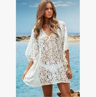 Wholesale Mini Sunscreen - New fashion 2017 women plus size beach cover up lace hollow out sunscreen women beach dress deep v white STB 048