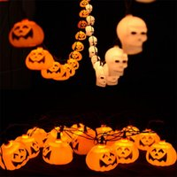 Halloween Pumpkin LED Lights Lampe Lanterne de papier Spiders Bats Skull Pattern Décoration LED Batterie Ampoules Lampes pour Bar Kids