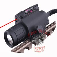 Wholesale Led Laser For Gun - 2in1 Combo Tactical CREE Q5 LED Flashlight LIGHT 200LM +RED Laser Sight For Pistol Gun Handgun Mira Laser Para Pistola