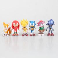 Wholesale Amy Toys - 6 pcs lot Mephiles Sonic the Hedgehog Amy Tails Knuckles 7cm PVC Shape Children Figurine Robot Toys