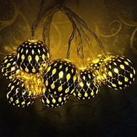 navidad lámpara batería cálido blanco al por mayor-Novedad marroquí 20 bolas de la lámpara alimentado por batería LED luz de la secuencia blanco cálido para la boda fiesta de la bola de metal navidad año nuevo decoración
