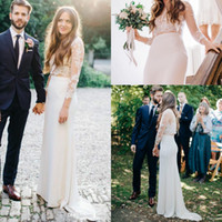 Wholesale laced fitted bride dresses for sale - Group buy Two Pieces Lace Wedding Dresses Long Illusion Sleeves Sheer Jewel Neck Satin Sheath Illusion Back Fitted Brides Dresses Custom Made
