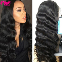 Wholesale Virgin Hot Full - hot sell 1#,1b,2#,4#,Natural Color Brazilian Virgin Hair Full Lace Wig Body Wave Lace Front Wig Glueless Wig 130% density with baby hair