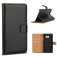 Wholesale Galaxy Note Credit Card - For iphone 7 plus Samsung Note 7 S7 edge Real Genuine Leather Wallet Credit Card Holder Stand Case Cover For Galaxy Note7 SCA205