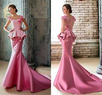 Wholesale Sweetheart Ruffle Mermaid Beaded Unique - 2016 Designer Unique Long Evening Dresses Arabic Middle East Pink Applique Beads Beading Illusion Party Sheer Formal Prom Party Gowns