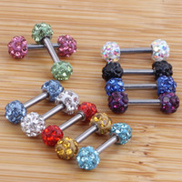 Wholesale Tragus Ear Rings - CRYSTAL Ferido Ball TRAGUS CARTILAGE EAR Studs RINGS Barbell Piercing Jewelry 1.2*6*3.5mm Lip Nose bar