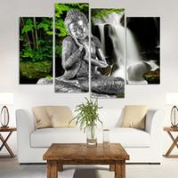 pinturas abstractas de buda al por mayor-4 Panel Resumen Impreso Budismo Señor Buda Pintura Arte de la Lona Buda Imagen Pinturas Cuadros Para la Sala Sin Marco
