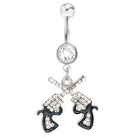 Wholesale Gun Jewelry Charms - D0043 Clear styl belly ring belly ring double-guns styles Rings Body Piercing Jewelry Dangle Accessories Fashion Charm 10PCS