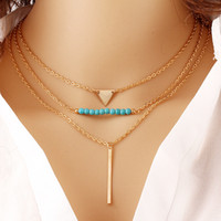 Wholesale European Charms Stand - Statement Necklaces For Women Lady Girls Charms Golden Angel Wing Arrow Coin Pandent Multi-layer Beands Stands European Style Strings KB339