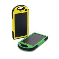 Wholesale Solar Cells 12 - 5000mAh Solar Charger and Battery Solar Panel portable power bank for Cell phone Laptop Camera MP4 With Flashlight waterproof shockproof 12