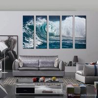 Wholesale Ocean Painting Piece - 5 Piece Wave Seascape Print on Canvas Roaring Wave Painting Canvas no Framed Ocean Wall Art Paintings Home Decor Art Canvas